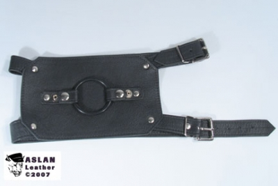 Buckling Thigh dildo harness ASLAN Leather, double penetration